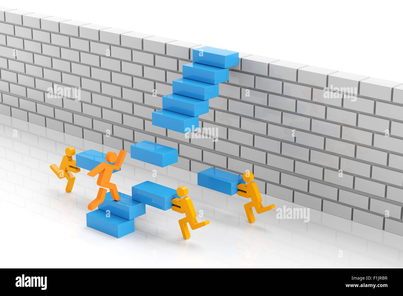 Teamwork to overcome obstacle - Stock Image
