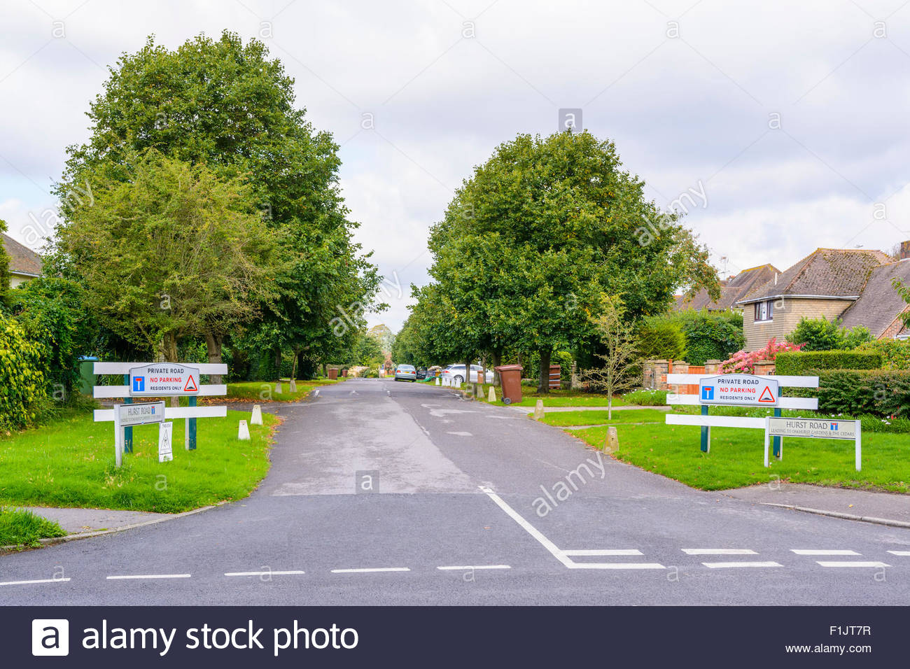 Private Road for residents only in a small town in England, UK. - Stock Image