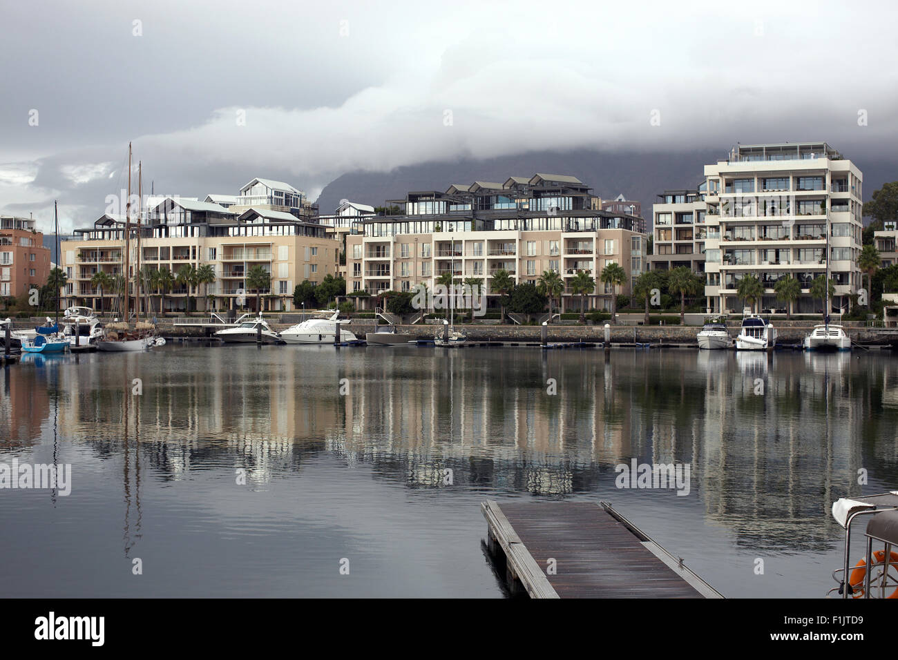 Yachts anchored in harbour, Cape Town - Stock Image