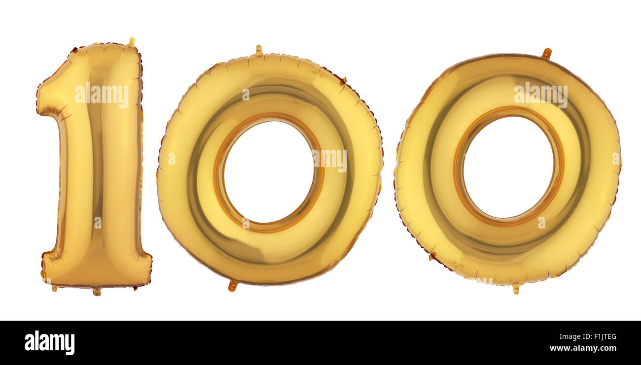 Isolated Gold Helium Balloon - Stock Image
