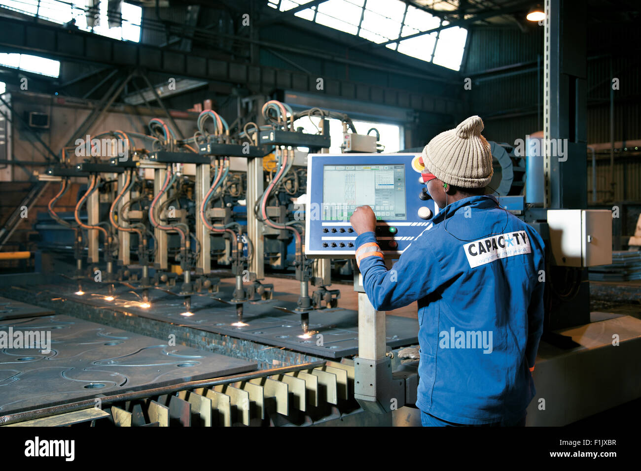 Laser Cutting of component parts, Bell Equipment, Richards Bay - Stock Image