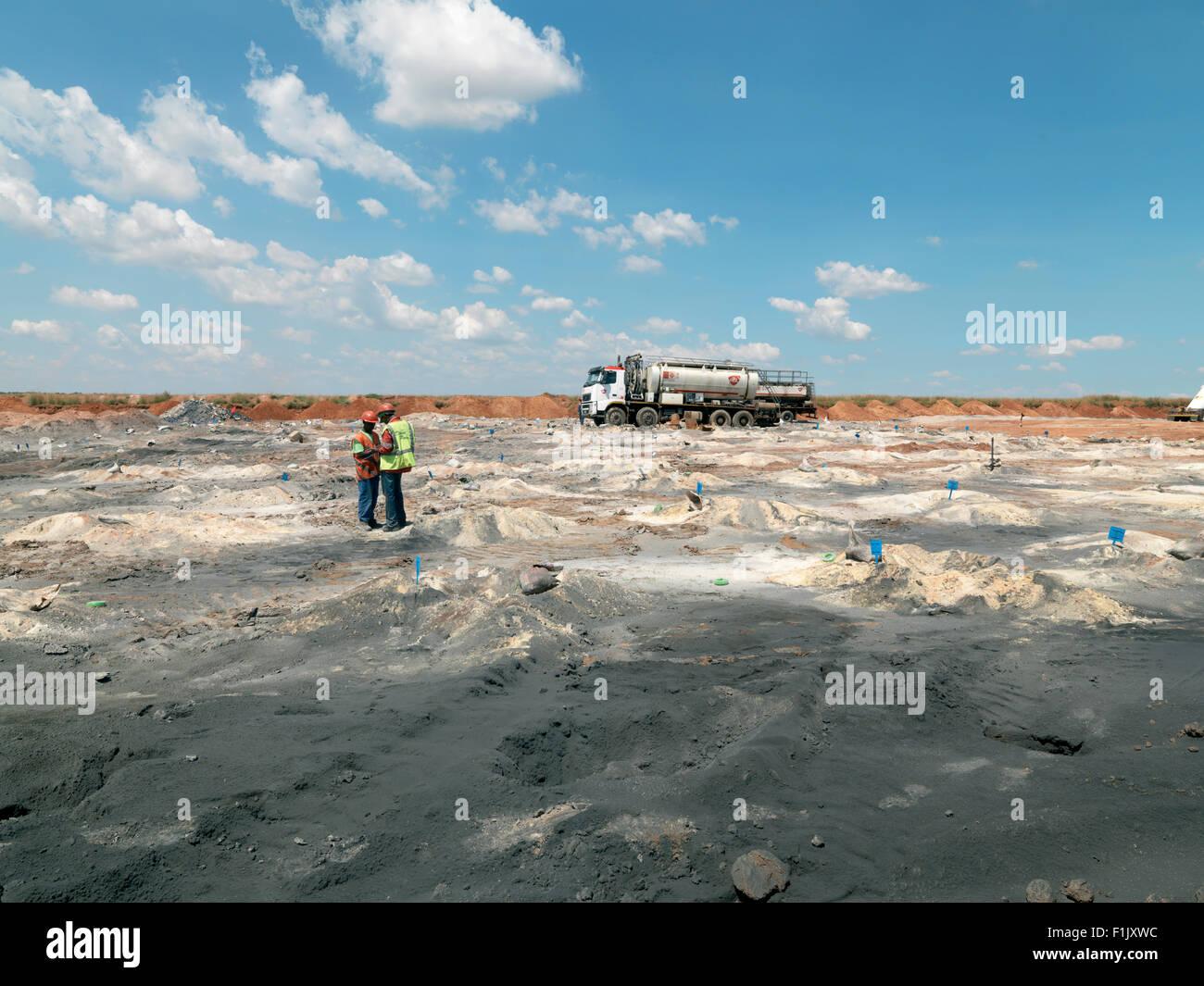 Pumping explosives for blasting, Palesa Coal Mine - Stock Image