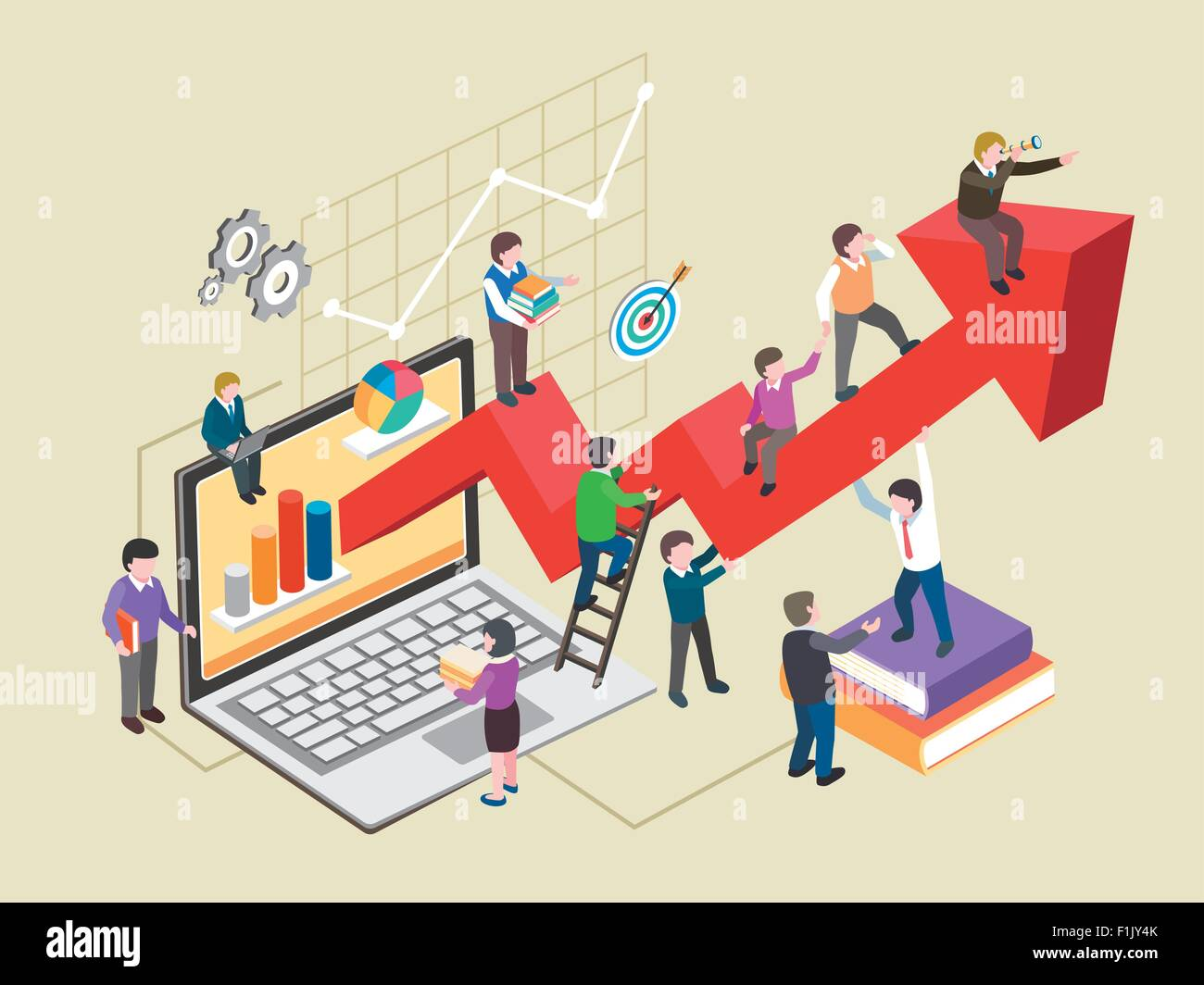 economic growth concept in flat 3d isometric graphic - Stock Image
