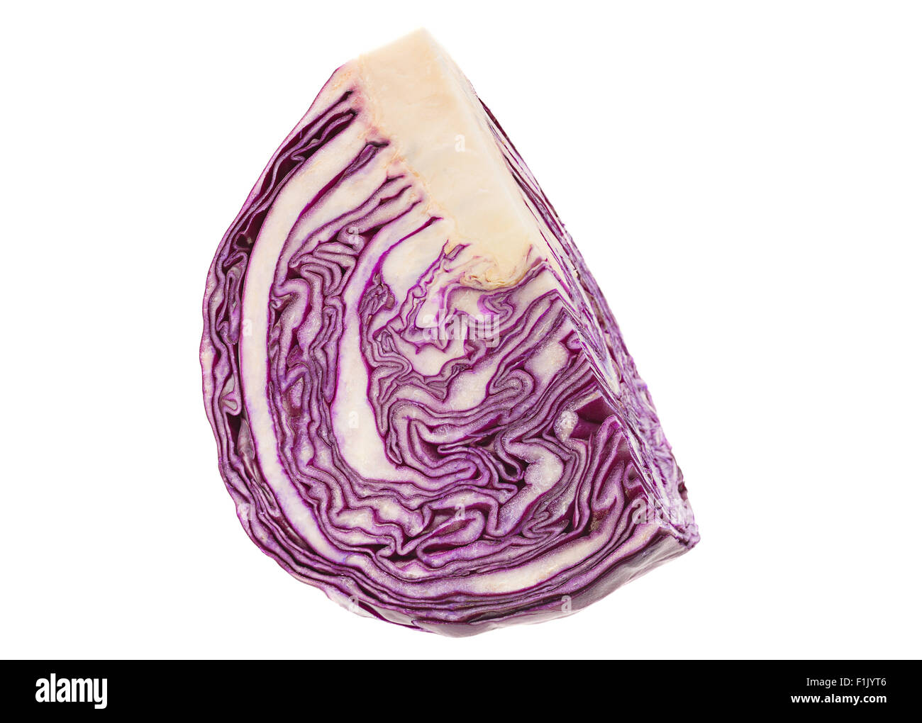 Purple cabbage part isolated on white background - Stock Image