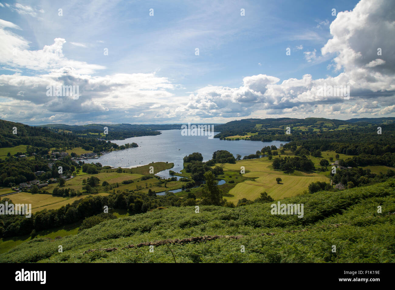 A view across Lake Windermere in The Lake District, England. - Stock Image