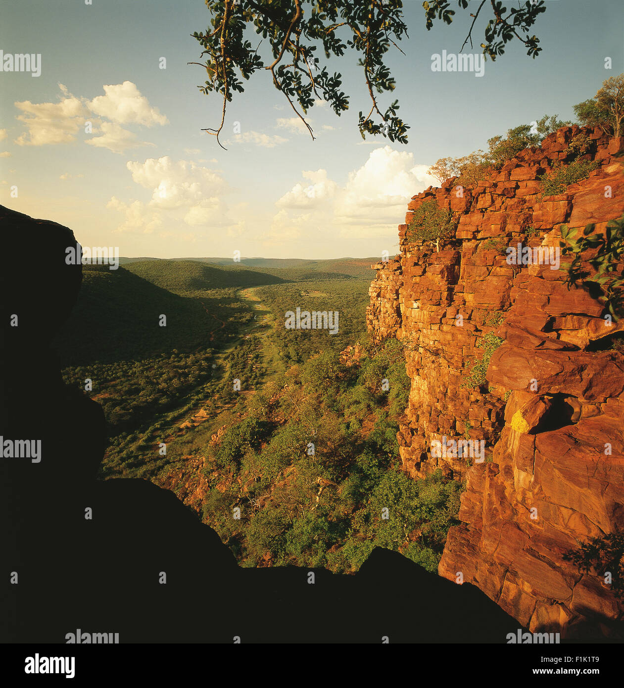 Rocky outcrop overlooking Mogol River in valley, Limpopo, South Africa, Africa - Stock Image