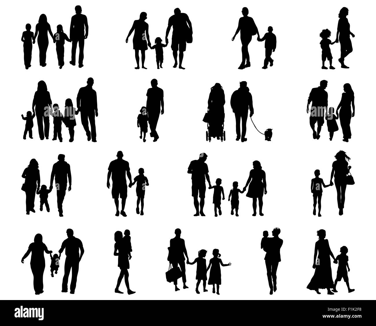 black silhouettes of families in walk vector stock photo alamy https www alamy com stock photo black silhouettes of families in walk vector 87085580 html