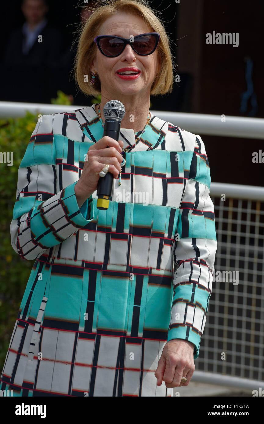 Sydney, Australia. 3rd September, 2015. Horse training legend Gai Waterhouse speaks to the media at the 2015 Sydney - Stock Image