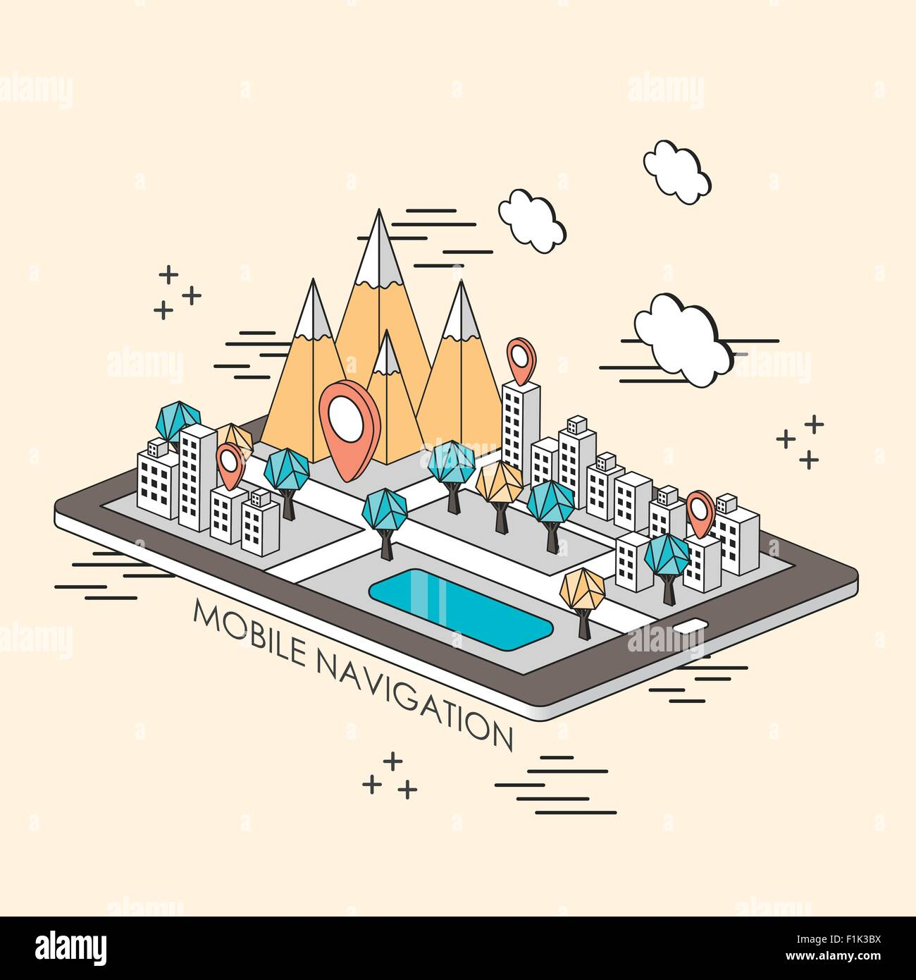 mobile navigation concept: city and mountain showing up from tablet in line style - Stock Vector
