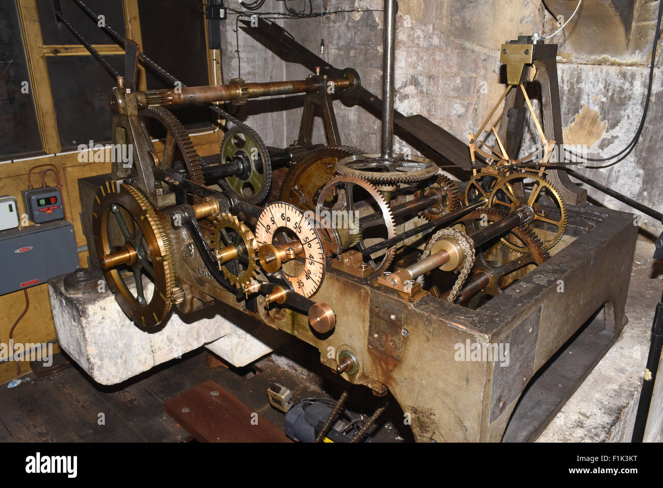 leeds town hall clock mechanism made by f. dent of london in 1859 , leeds yorkshire united kingdom - Stock Image