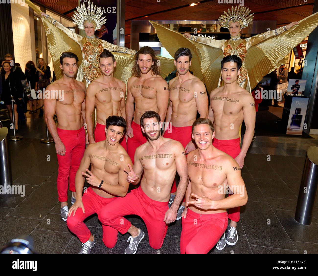Sydney, Australia. 3rd September, 2015. Male strippers in Pitt Street Mall  attracted