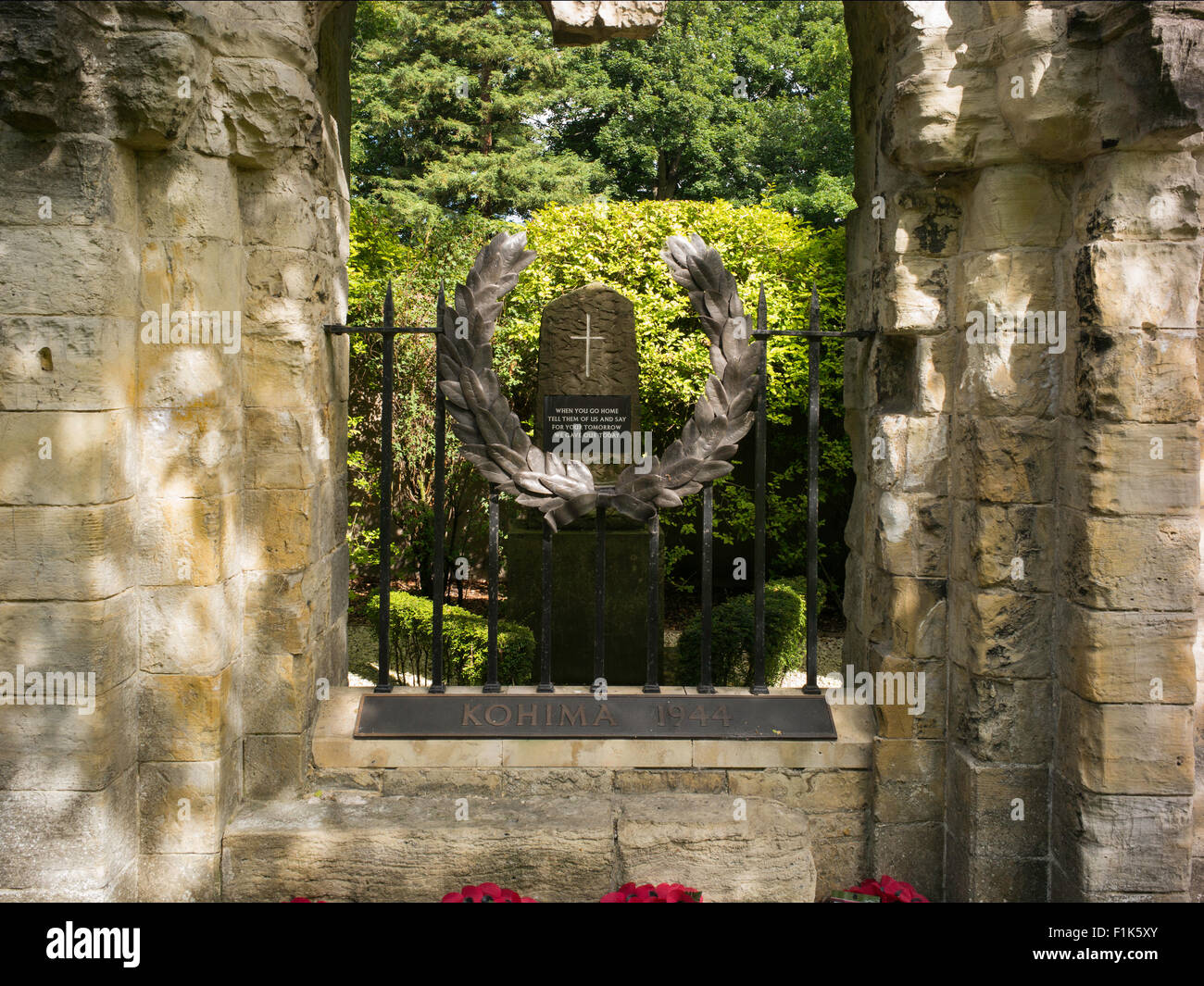 A memorial in honour of the men of the British Army Second Infantry DIvision who died at Kohima in 1944, Dean's - Stock Image