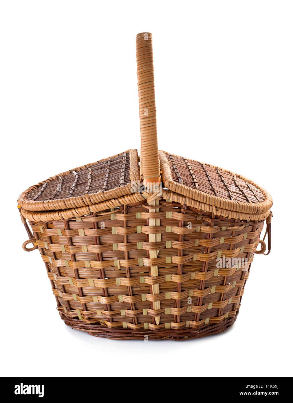 wicker basket isolated on white background - Stock Image