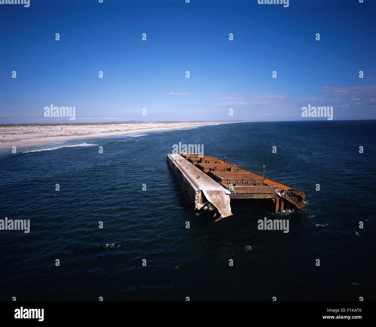 Shipwreck in Atlantic Ocean Langebaan Coastline, Western Cape, South Africa - Stock Image