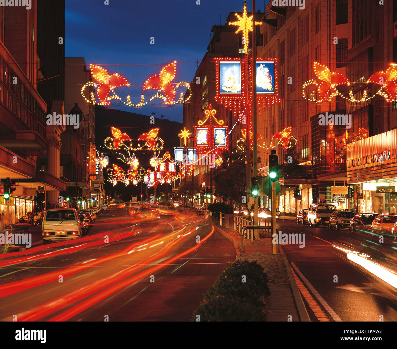 Festive Street Lights In Cape Town At Christmas. Golden