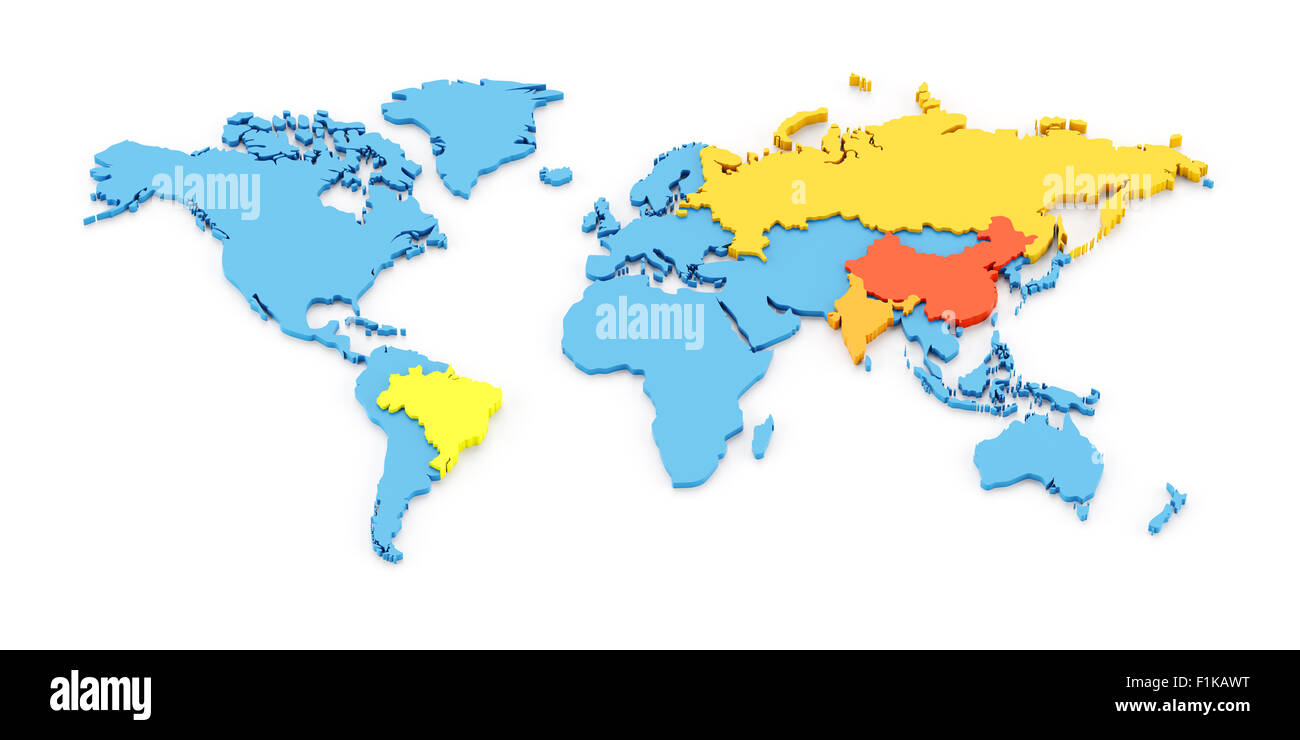 World map of BRIC - Stock Image