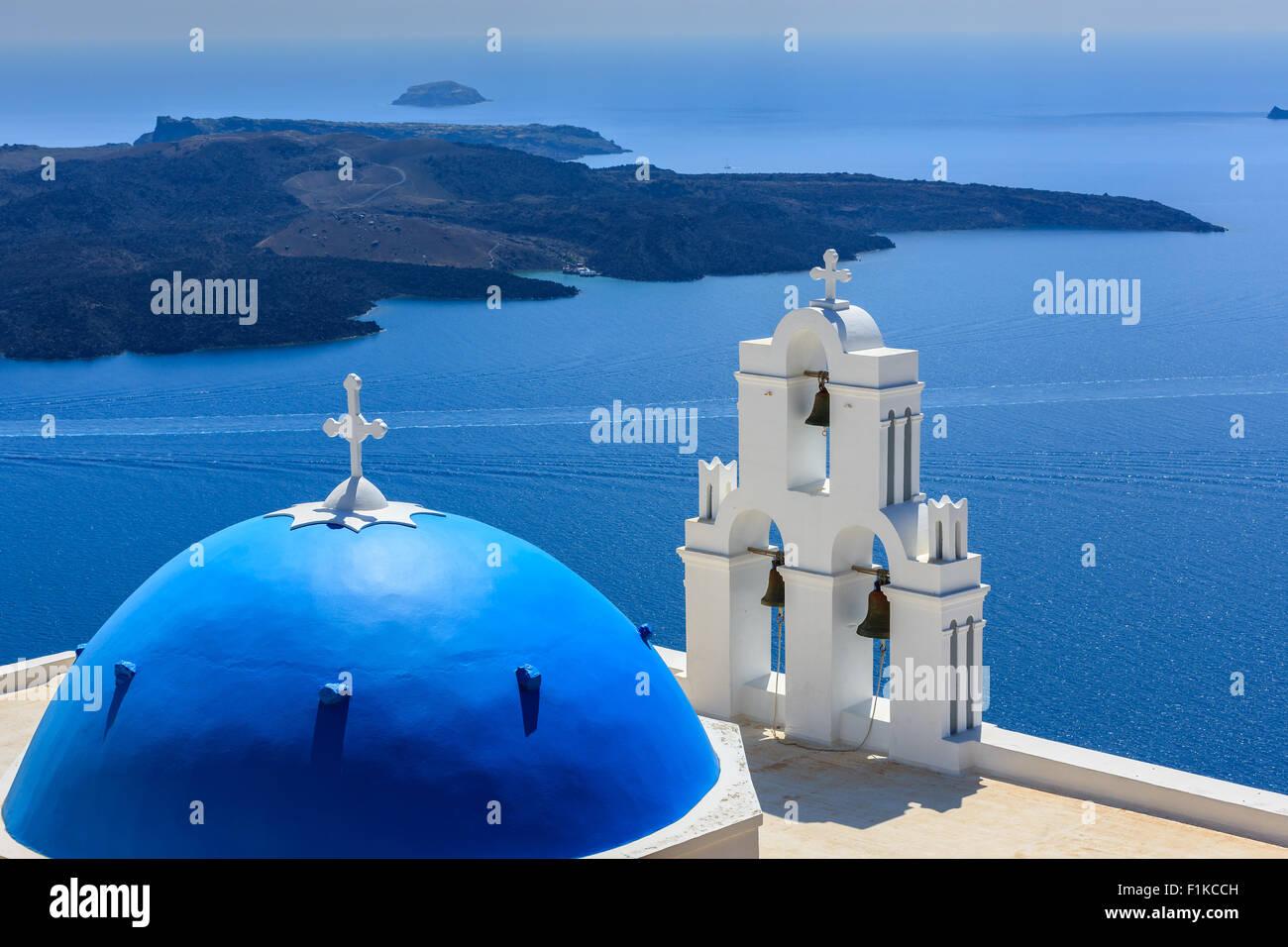 Aghioi Theodoroi church at Firostefani on Santorini one of  Cyclades islands in Aegean Sea, Greece. - Stock Image