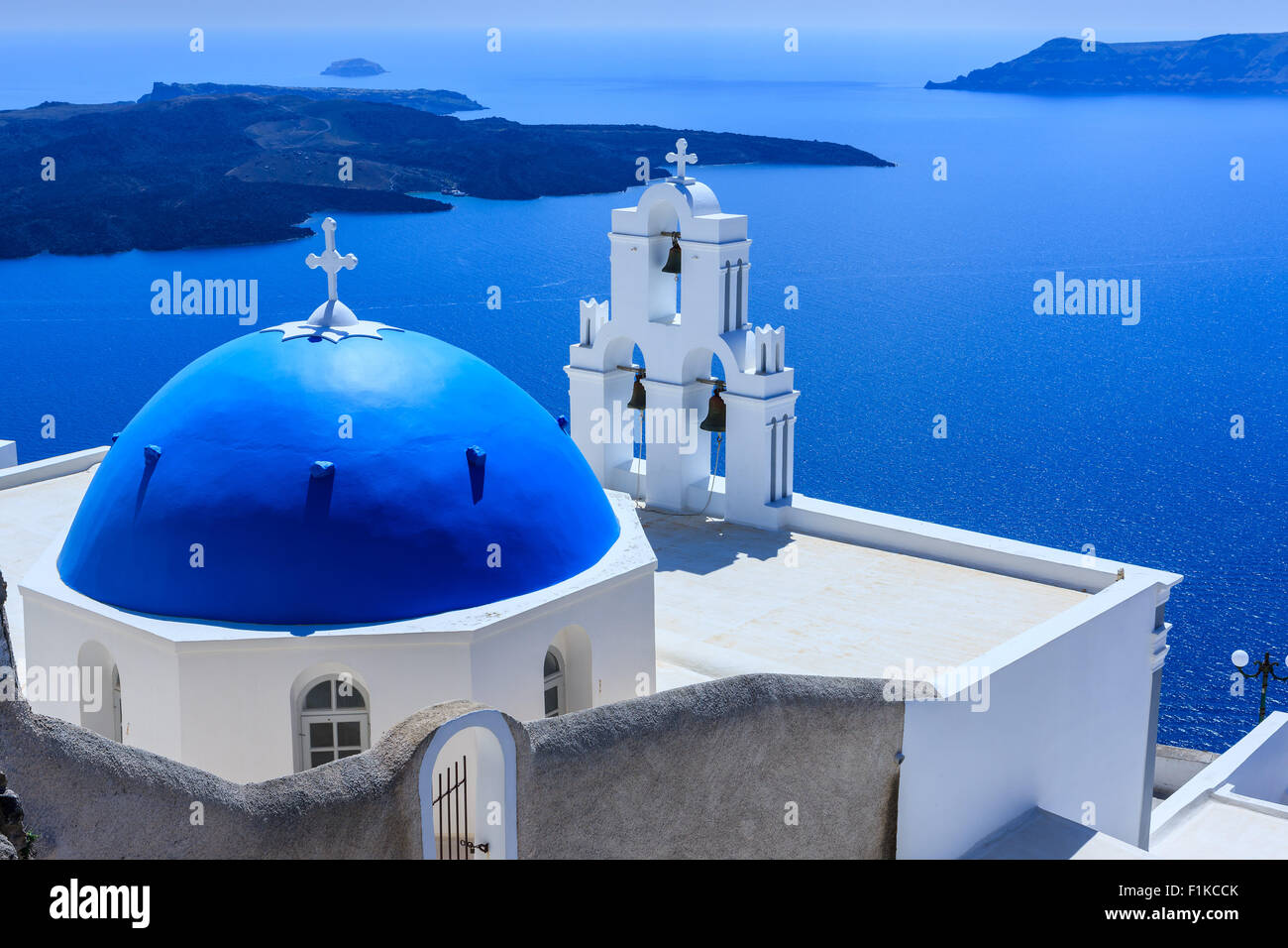 Aghioi Theodoroi church at Firostefani on Santorini one of  Cyclades islands in Aegean Sea, Greece. Stock Photo