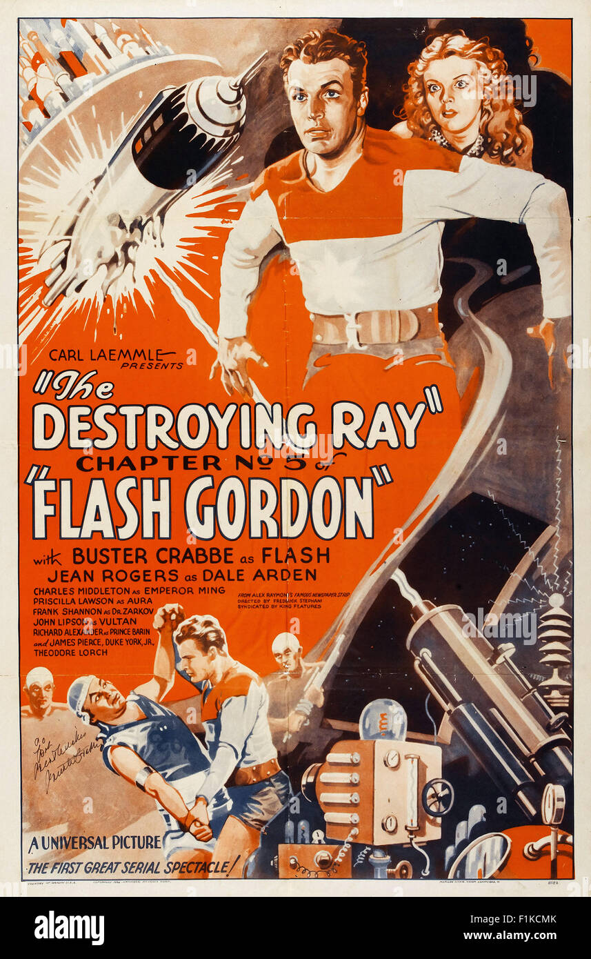 Flash Gordon (Chapter 05  The Destroying Ray) 001 - Movie Poster - Stock Image