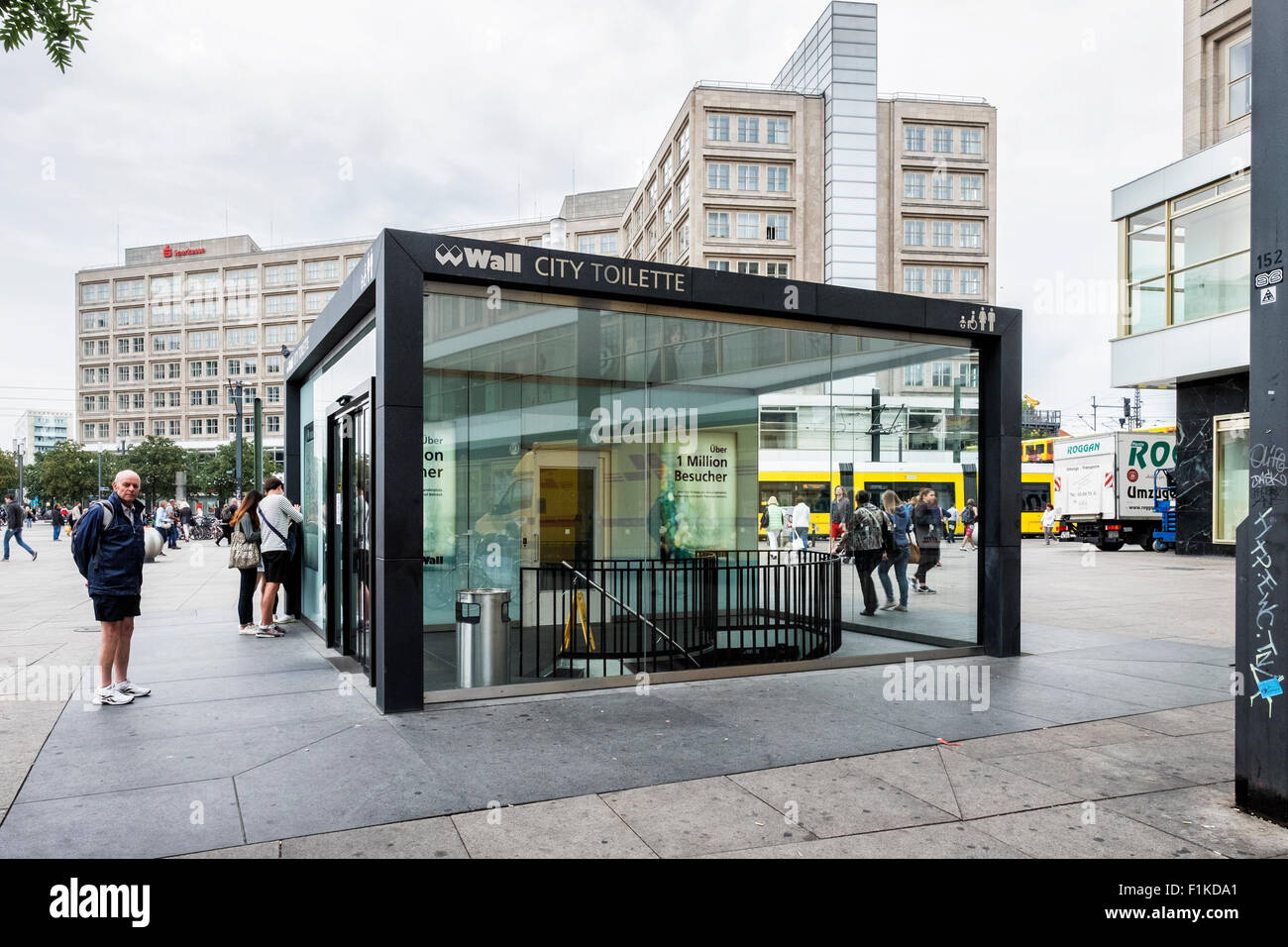 Wall City Toilette exterior - Designer public toilet, lavatory, loo, WC, public convenience. Alexanderplatz, Berlin - Stock Image