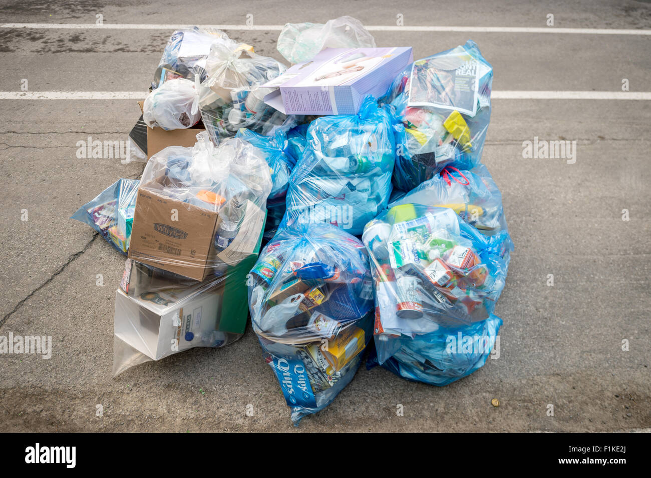 Blue plastic Recycling Rubbish bags put out for recycling on the street, waiting for Rubbish collection. - Stock Image