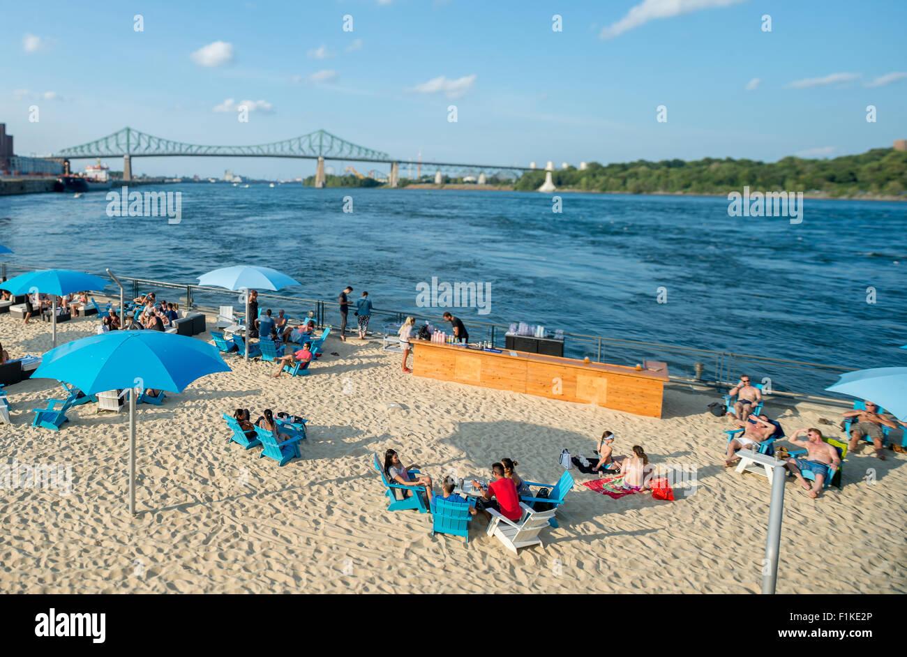 Montreal Clock Tower beach on Saint Lawrence river, tilt shift effect - Stock Image