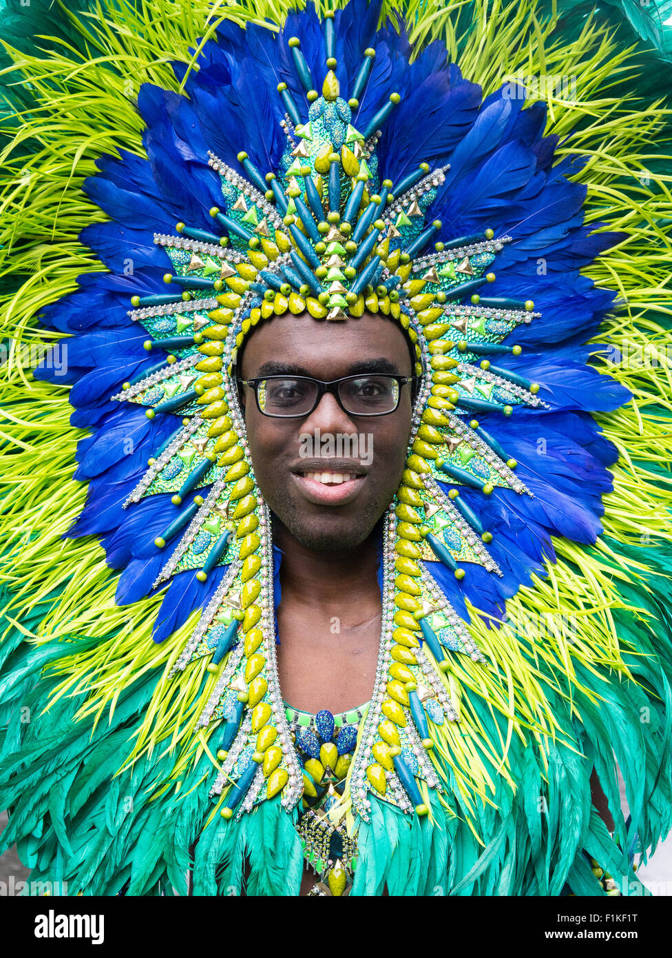 Celebration at the Notting Hill Carnival-The biggest street festival in Europe.  Carribean culture with colourful - Stock Image