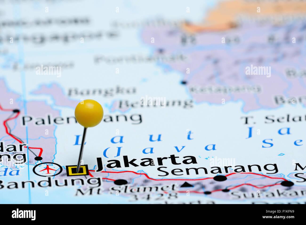Map Of Asia Jakarta.Jakarta Pinned On A Map Of Asia Stock Photo 87095941 Alamy