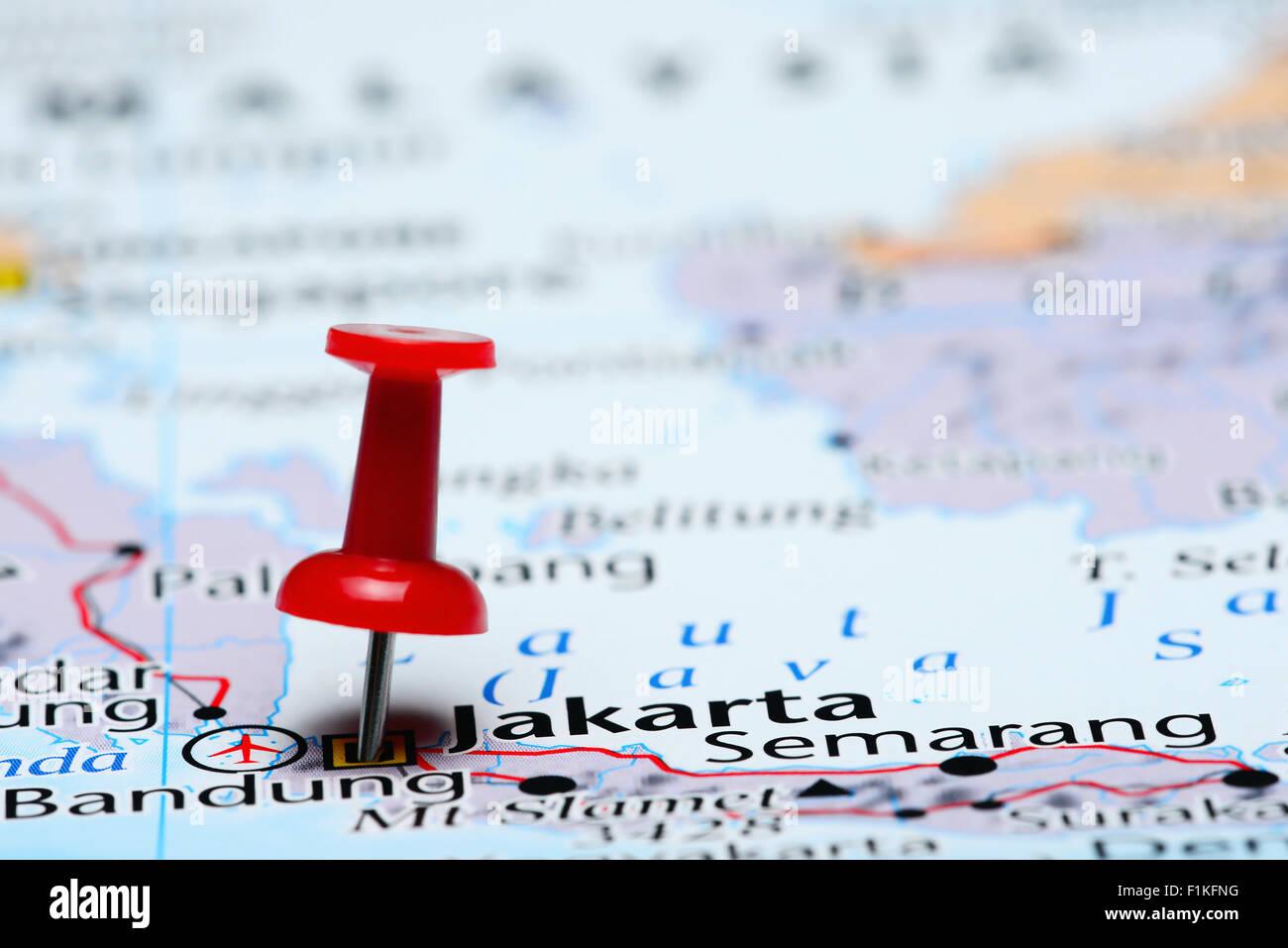 Map Of Asia Jakarta.Jakarta Pinned On A Map Of Asia Stock Photo 87095948 Alamy