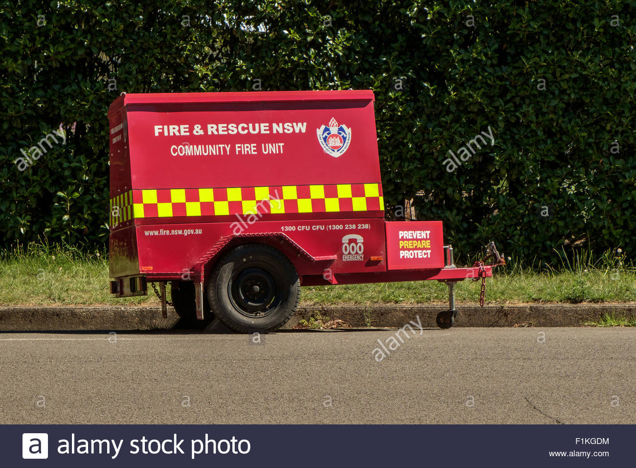 A New South Wales community fire unit trailer parked at the roadside in Leura town in the Blue Mountains, Australia. - Stock Image