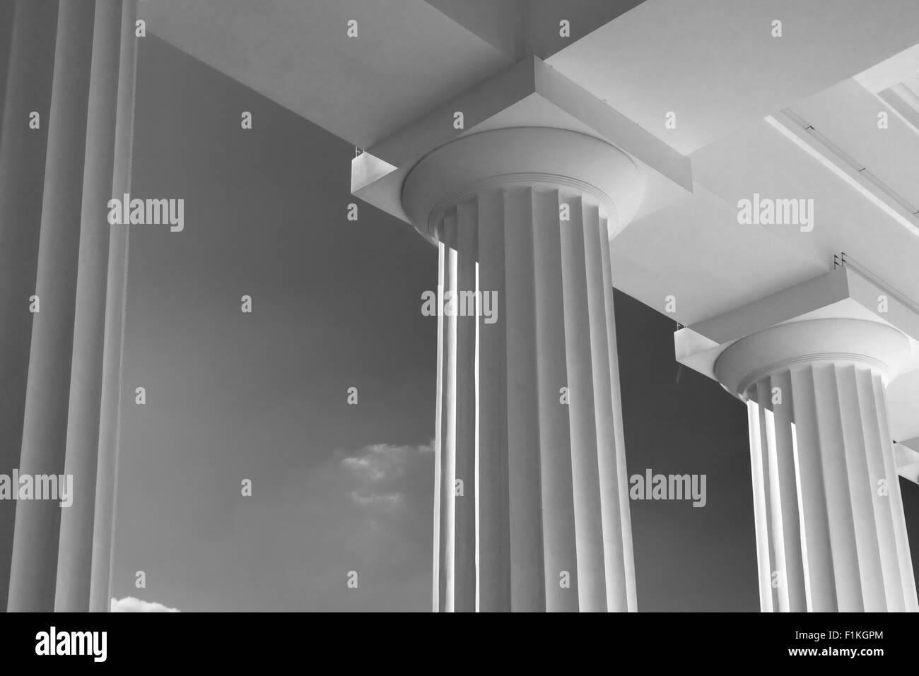 Vintage Columns Architecture Of Ancient Greek Temple - Stock Image