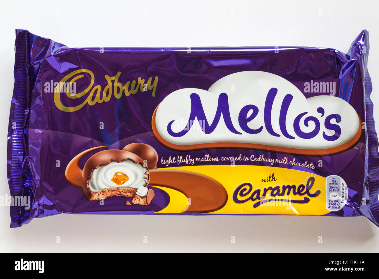 Packet of Cadbury Mello's light fluffy mallows covered in Cadbury milk chocolate with caramel Stock Photo