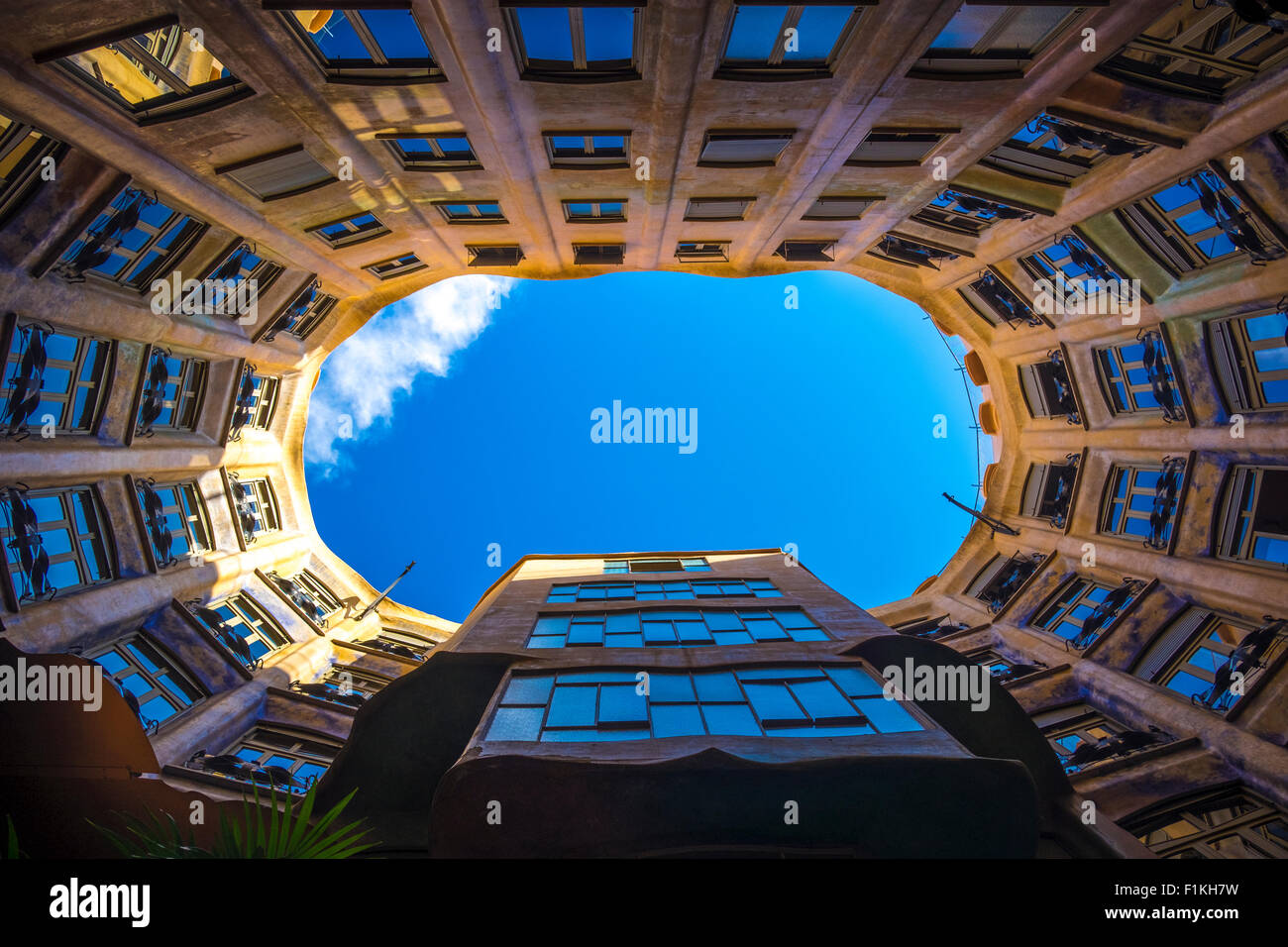 Terrace of the Casa Mila (La Pedrera) by the architect Antoni Gaudi at Paseo de Gracia Avenue in Barcelona, Catalonia, Stock Photo