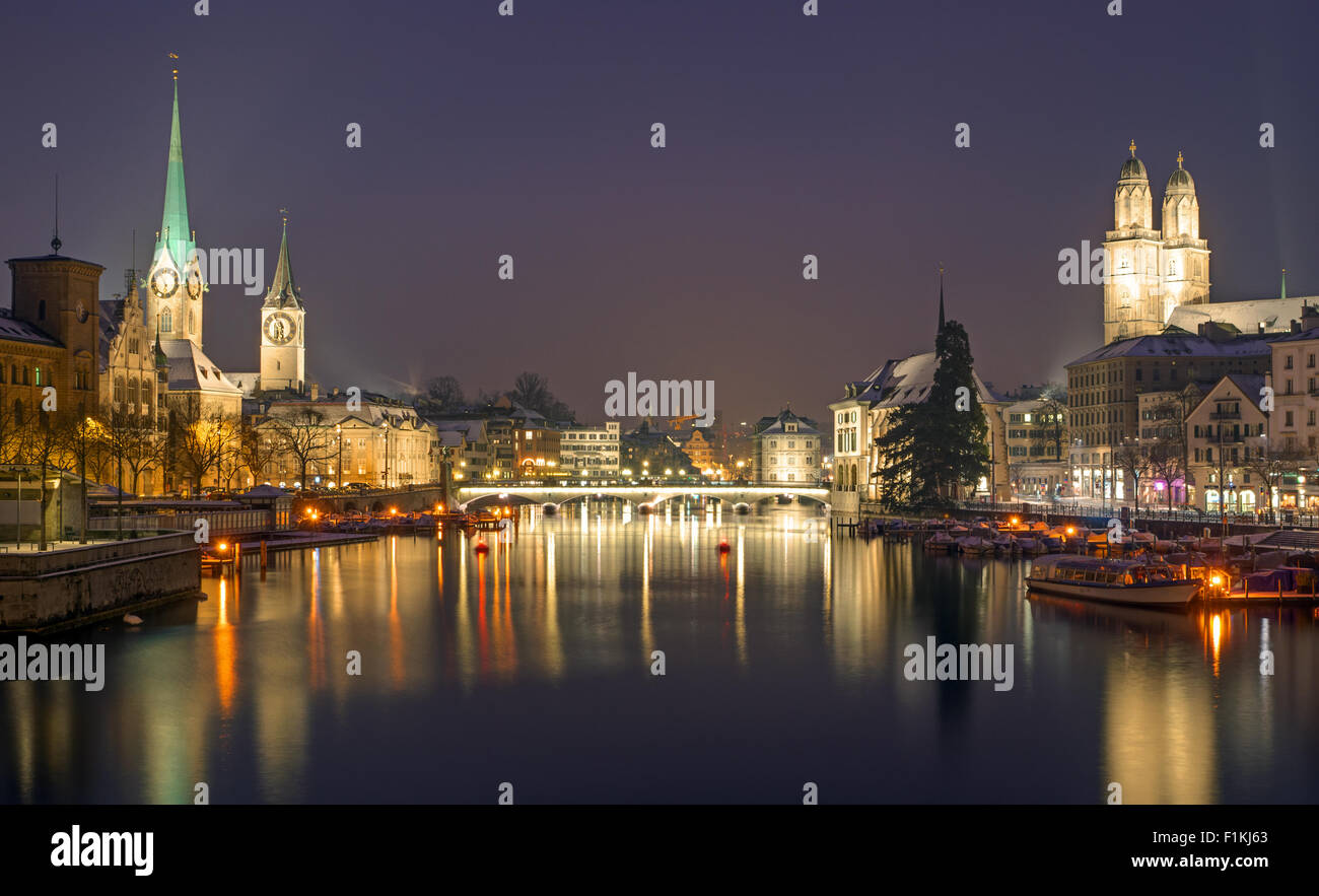 A panorama of Zurich on a winter night Stock Photo
