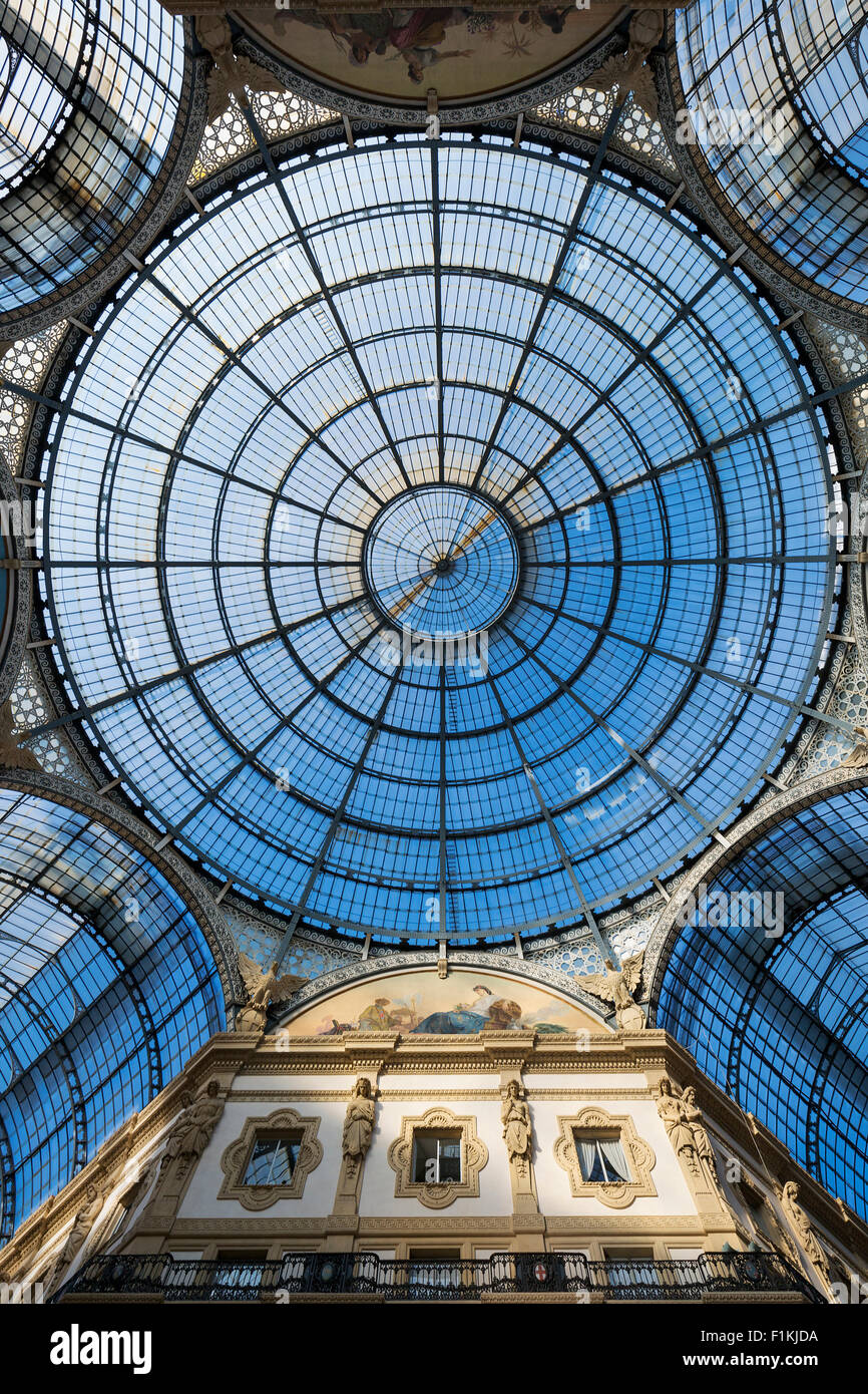 Shot of the landmark arcade or covered luxury shopping mall, Galleria Vittorio Emanuele II in Milan, Italy - Stock Image