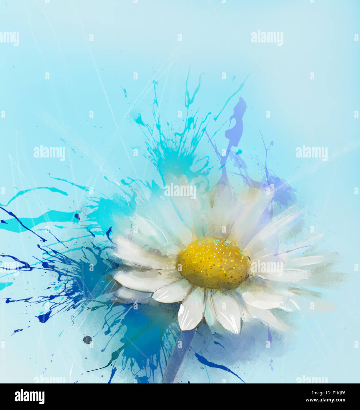 Abstract White Daisy Flower Oil Painting With Blue Space For Design
