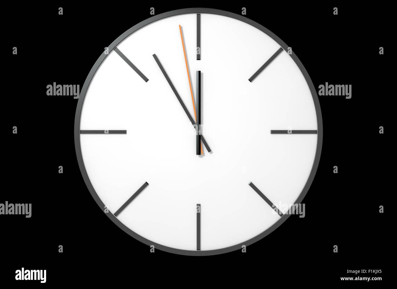 An extreme close up of a modern simplistic watch face on an isolated studio background - Stock Image