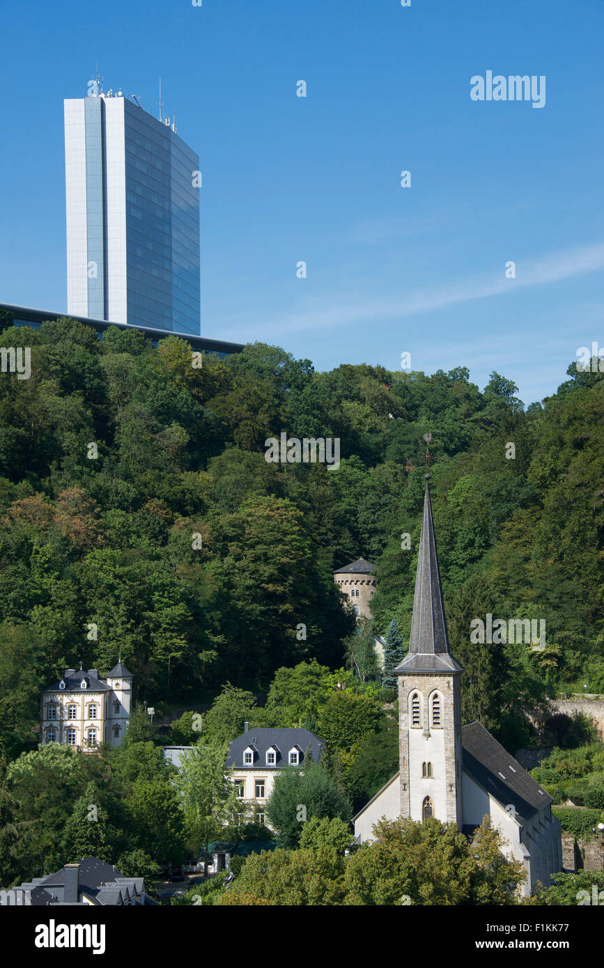 Skyscraper Place de Europe and St Cunégonde Church Clausen Luxembourg City Luxembourg - Stock Image