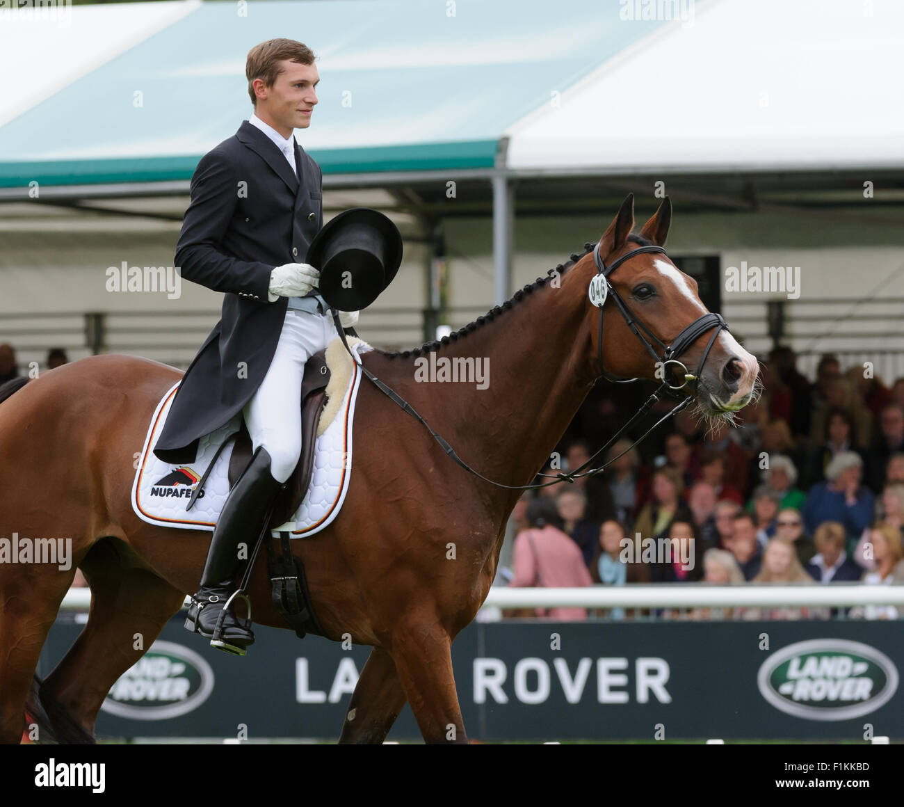 Burghley House, Stamford ,UK, 3rd Sept 2015. Nicklas Bschorer and TOM TOM GO 3 are in third place after day 1 of - Stock Image