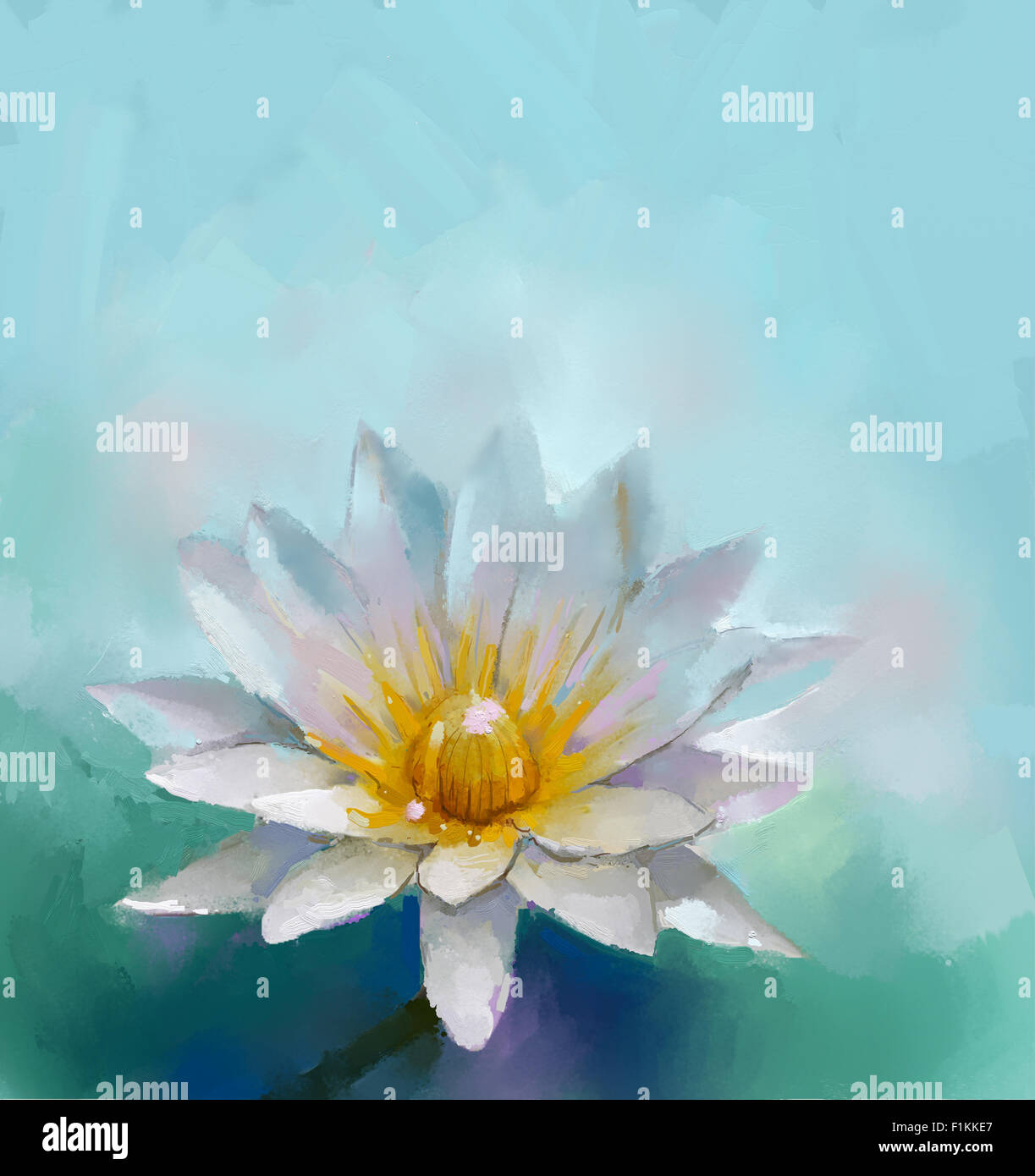 Oil painting lotus flower with blue color space background stock oil painting lotus flower with blue color space background izmirmasajfo