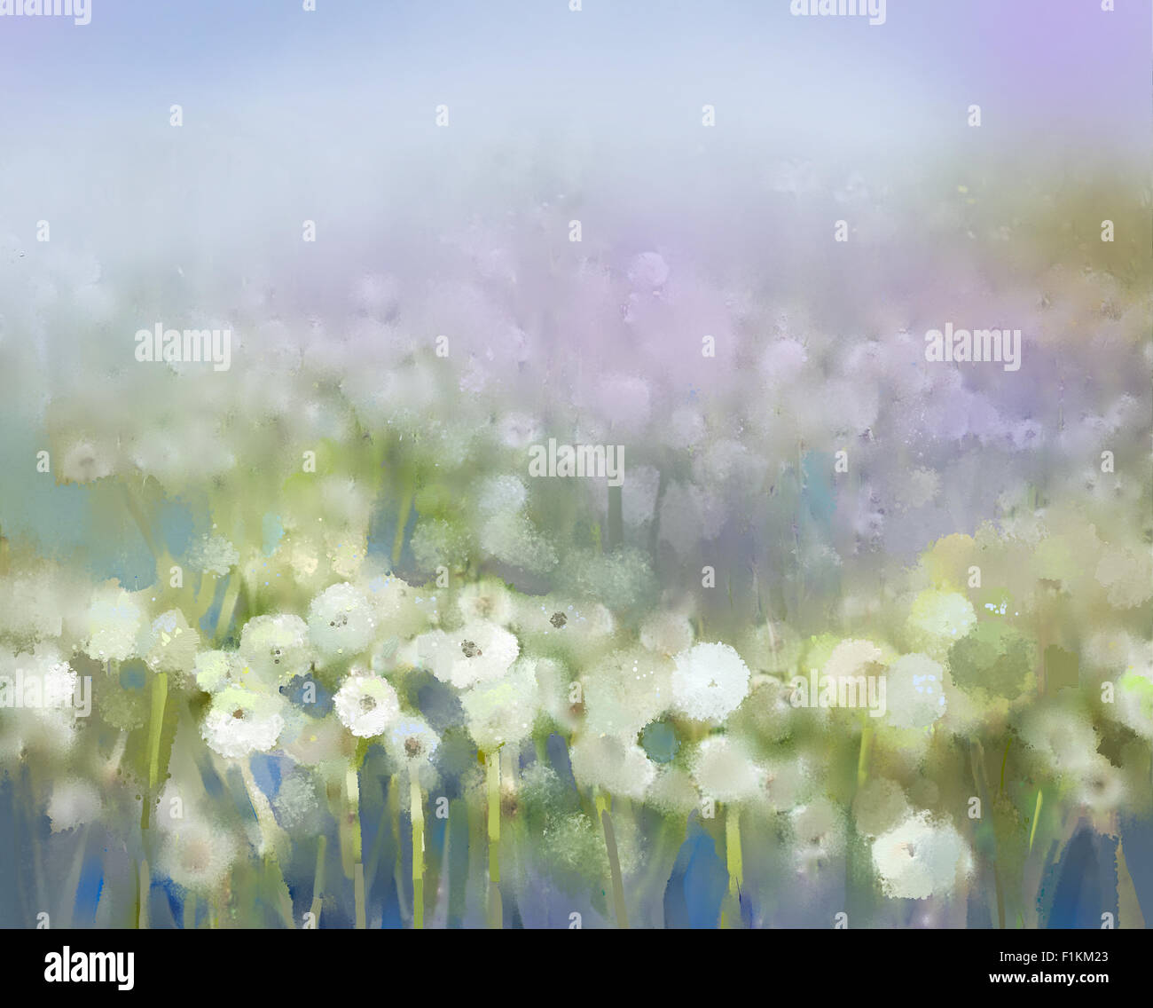 Abstract oil painting white flowers field in soft color oil stock abstract oil painting white flowers field in soft color oil paintings white dandelion flower in the meadows mightylinksfo