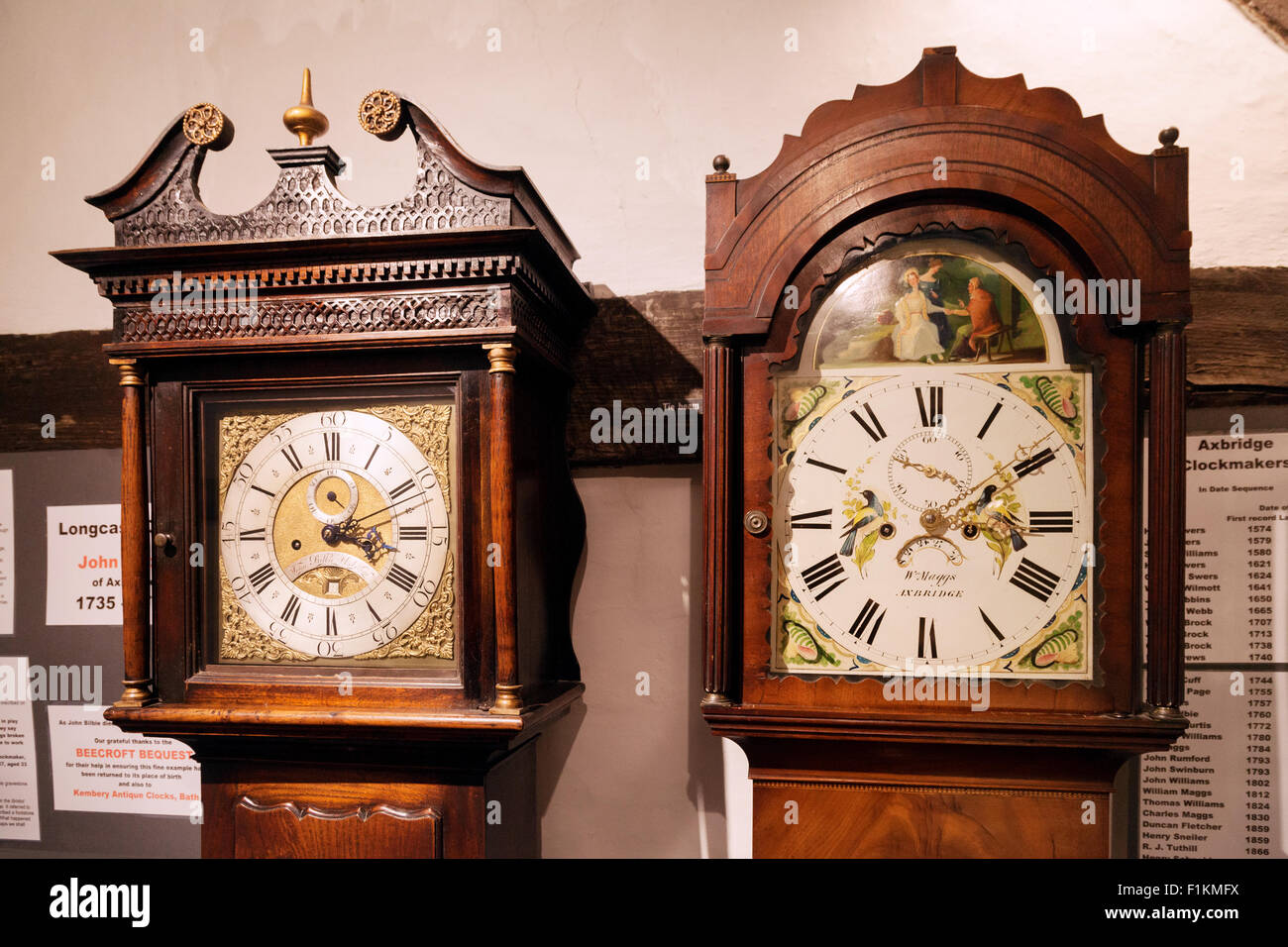 Two Long Case or Grandfather clocks made in Axbridge Somerset in the 18th Century; by John Bilbie (lt) and William - Stock Image