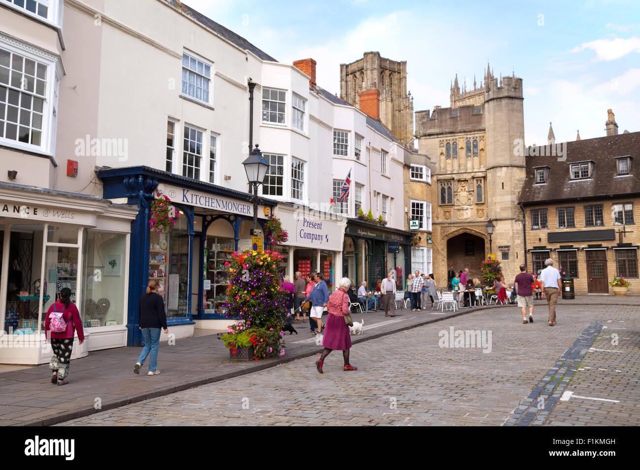 Street scene in the Marketplace, Wells city centre, Wells, Somerset England UK - Stock Image