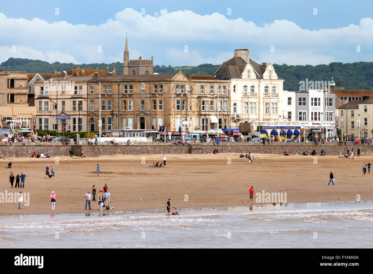 Weston Super Mare beach and seafront, Weston-Super-Mare, Somerset, England UK - Stock Image