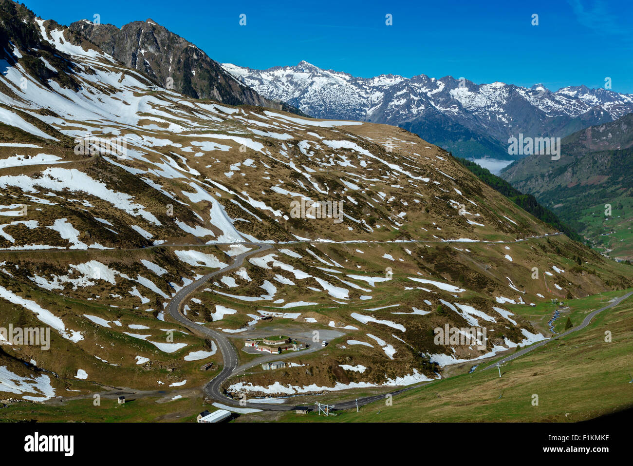 The Valley Of Bareges, Road to The Pic Du Midi and Col Du Tourmalet, Hautes Pyrenees, France - Stock Image