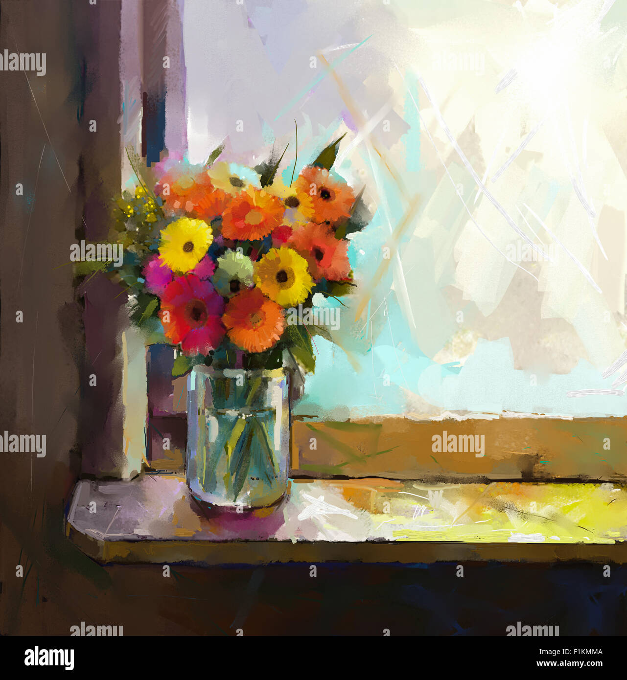 Oil Painting Bouquet Of Daisy And Gerbera Flowers,Glass