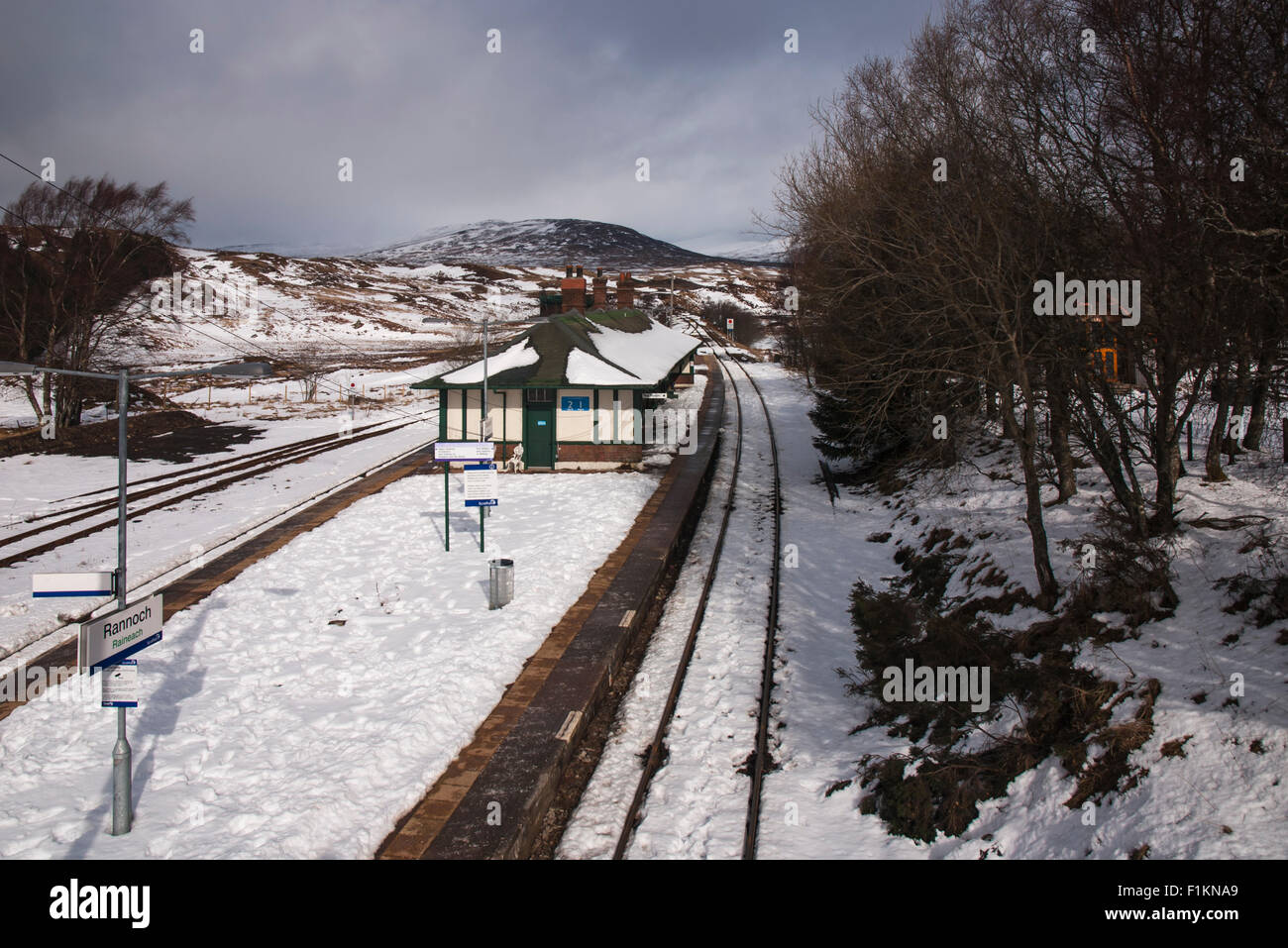Rannoch Station In Winter Moor Perth And Kinross Scotland