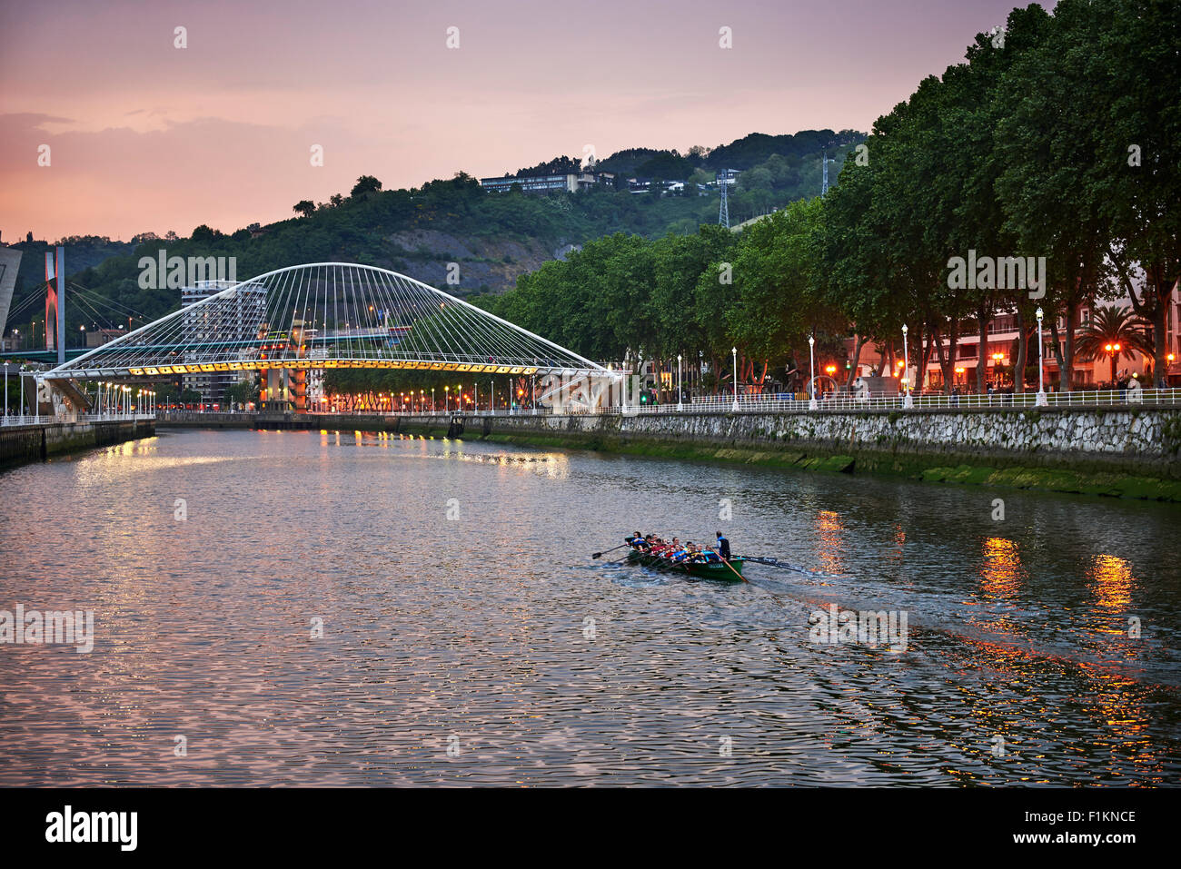 Drifter in the Nervion River, Bilbao, Biscay, Basque Country, Euskadi, Spain, Europe - Stock Image
