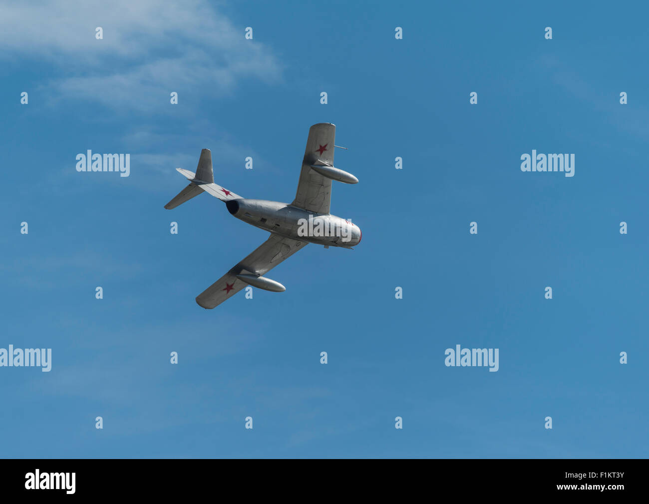 Russian Mikoyan Gurevich MIG 15 cold war jet fighter from the Norwegian Airforce historic squadron flying at Clacton - Stock Image