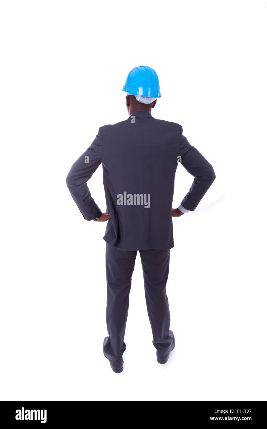 African American architect isolated on white background - black people Stock Photo